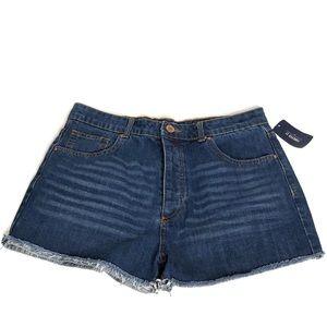 Forever 21 High Rise Denim Raw Hem Shorts Size 30